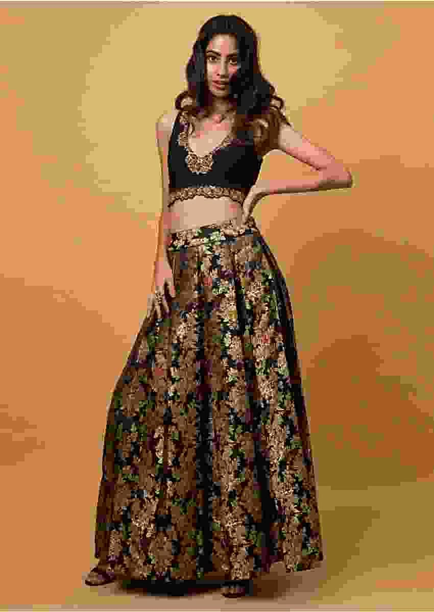 Ink Black Crop Top And Skirt In Brocade Silk With Weaved Jaal All Over Online - Kalki Fashion
