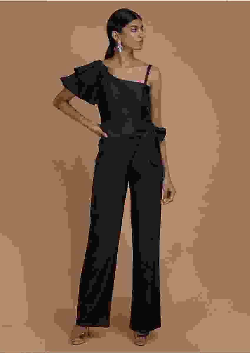 Ink Black Jumpsuit With Fancy Pleated Frill On The Shoulder Online - Kalki Fashion