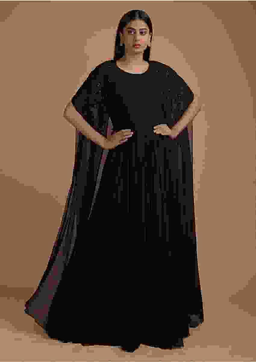 Ink Black Long Dress In Georgette With Long Floor Length Cape Online - Kalki Fashion