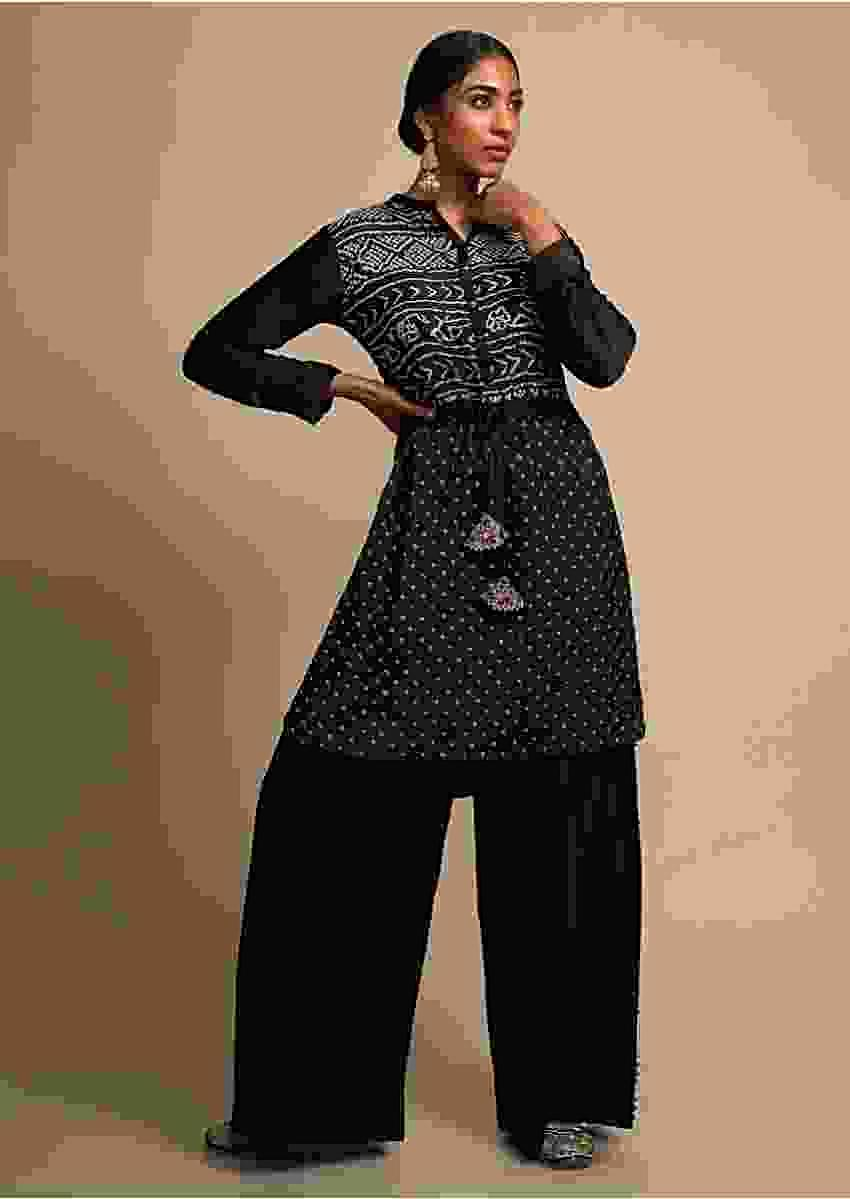Ink Black Palazzo Suit With Real Bandhani Kurta Online - Kalki Fashion