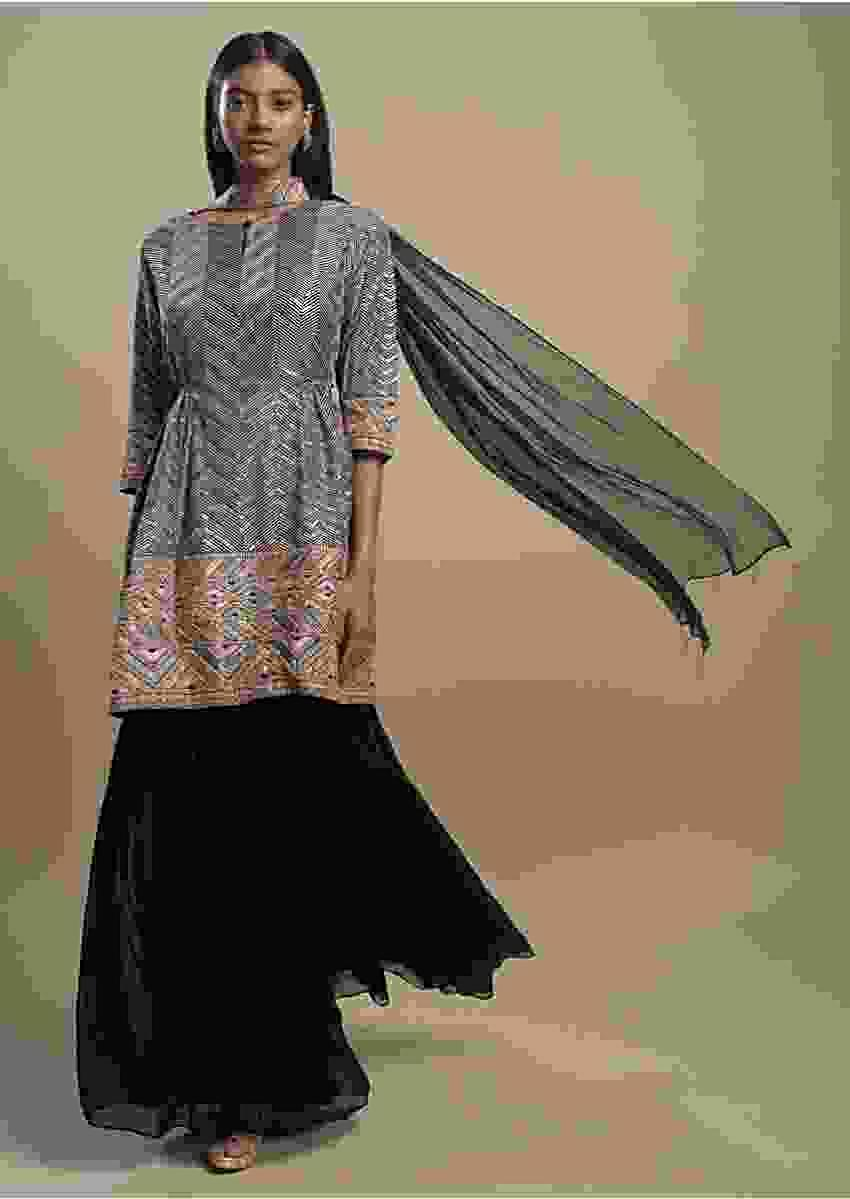 Ink Black Sharara Suit In Georgette With Resham And Sequins Work In Chevron Pattern Online - Kalki Fashion