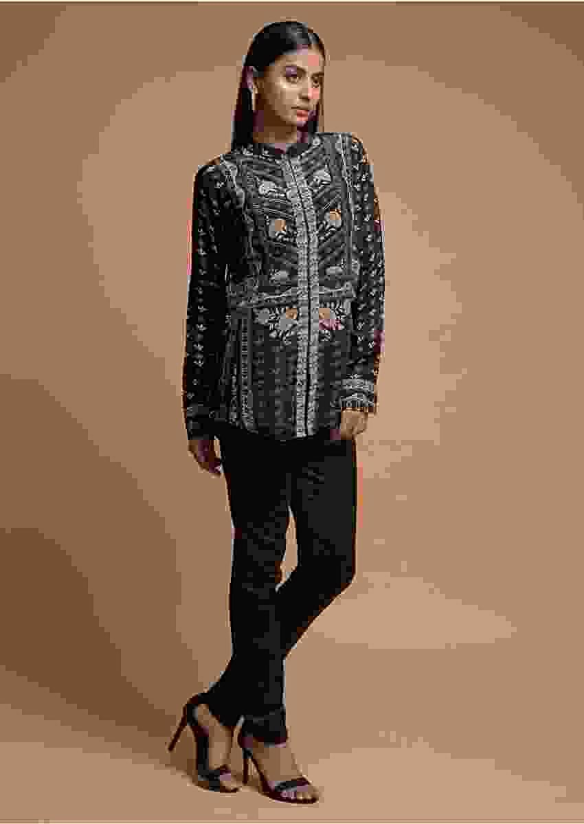 Ink Black Short Kurti In Crepe With Floral And Tribal Print Online - Kalki Fashion
