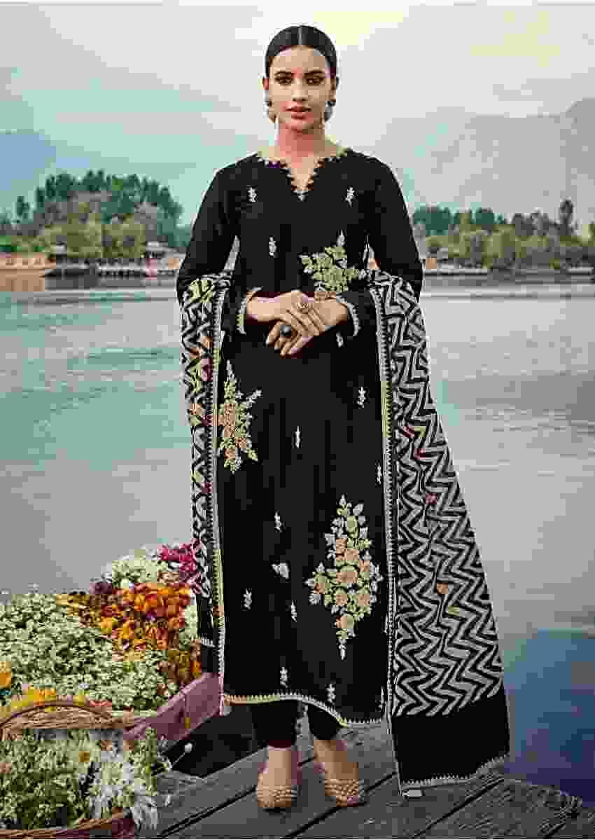 Ink Black Straight Cut Suit In Cotton With Thread And Sequins Embroidered Floral Motifs Online - Kalki Fashion