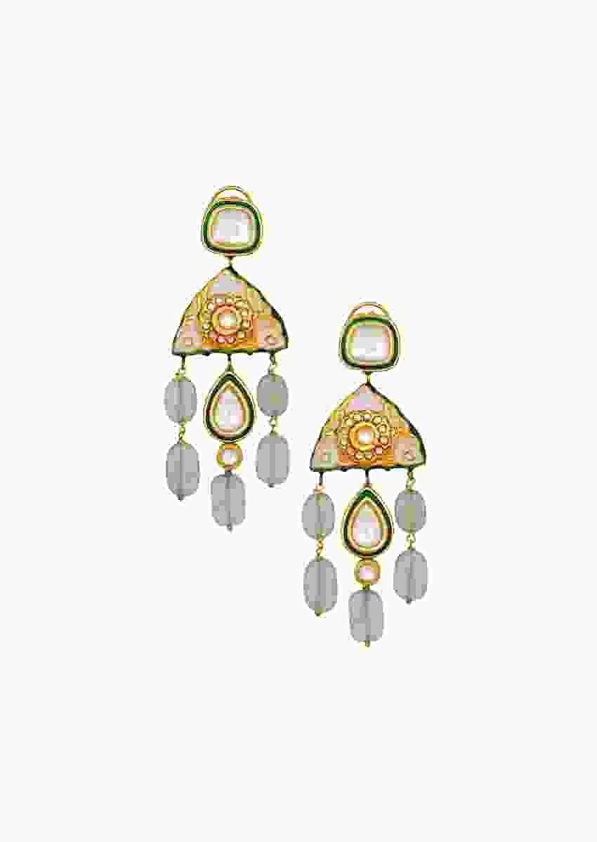 Intricate Kundan Earrings With Gold Floral Enamel And Glazed Jade Online - Joules By Radhika
