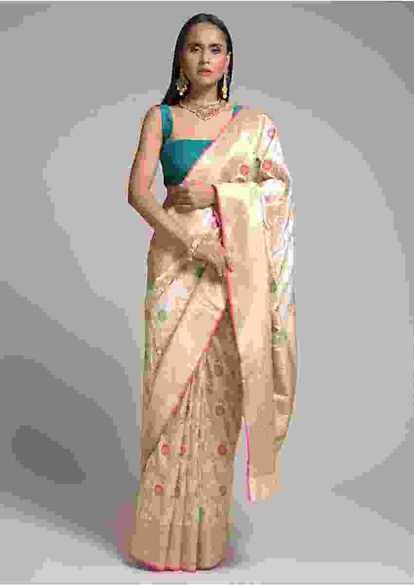 Ivory Beige Saree In Silk With Colorful Woven Floral Jaal And Golden Floral Border Online - Kalki Fashion