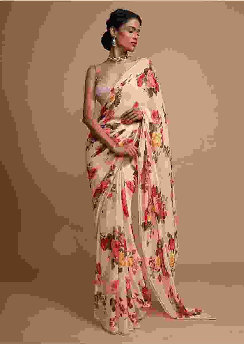 Ivory cream georgette saree with  floral digital print Online - Kalki Fashion