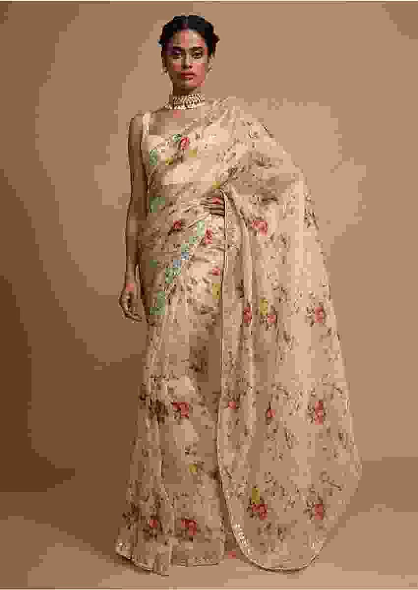 Ivory cream organza saree with floral digital print Online - Kalki Fashion
