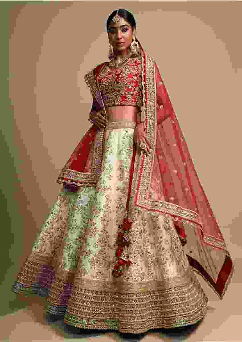 Ivory Lehenga Set With Multicolored Hem And Zari Embroidered Kalis Online - Kalki Fashion