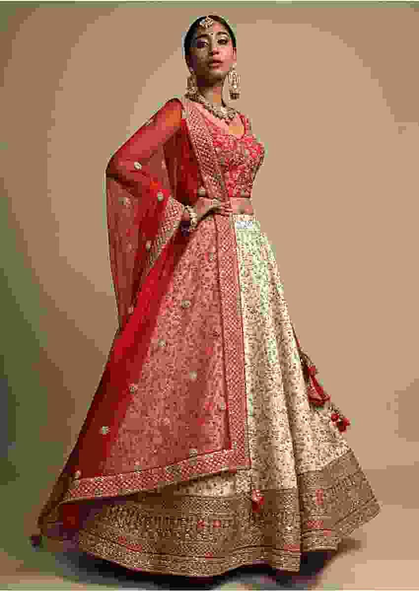 Ivory Lehenga Set With Red Border And Intricate Zari Embroidered Floral Jaal Online - Kalki Fashion