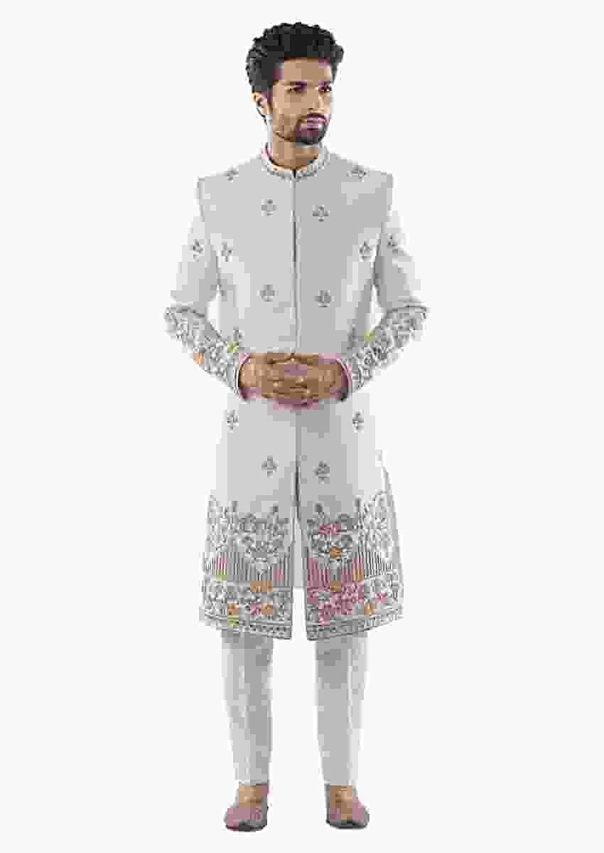 Ivory Sherwani With Heritage Embroidery Using Maal Dabka Work And Cream Pant Pajama Online - Kalki Fashion