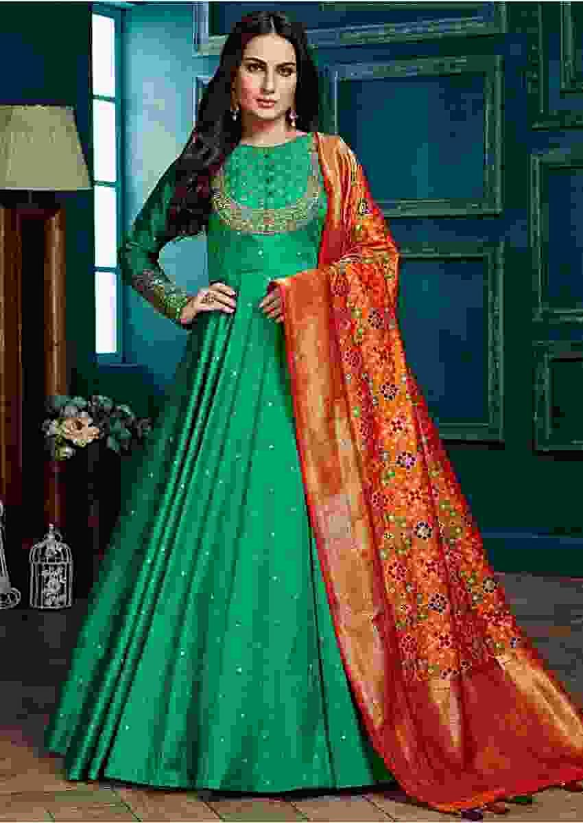 Jade Green Anarkali Suit In Silk With Weaved Buttis And Honey Yellow Banarasi Dupatta Online - Kalki Fashion