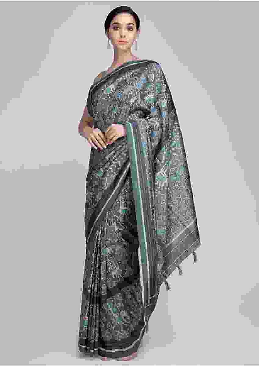 Jade Green And Powder Blue Saree In Ikkat Printed Silk With Elephant Motif Online - Kalki Fashion