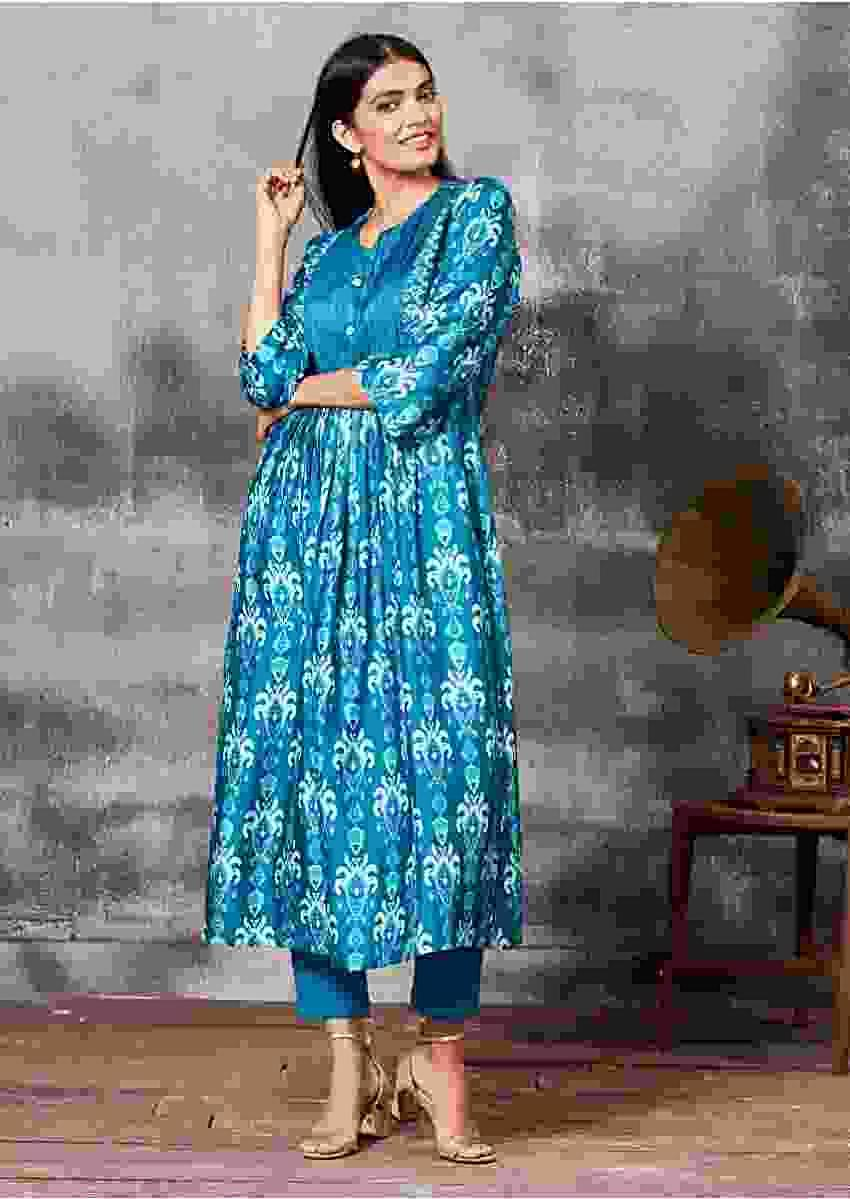 Jamaica Blue A Line Suit With Thread Embroidery And Ethnic Print Online - Kalki Fashion