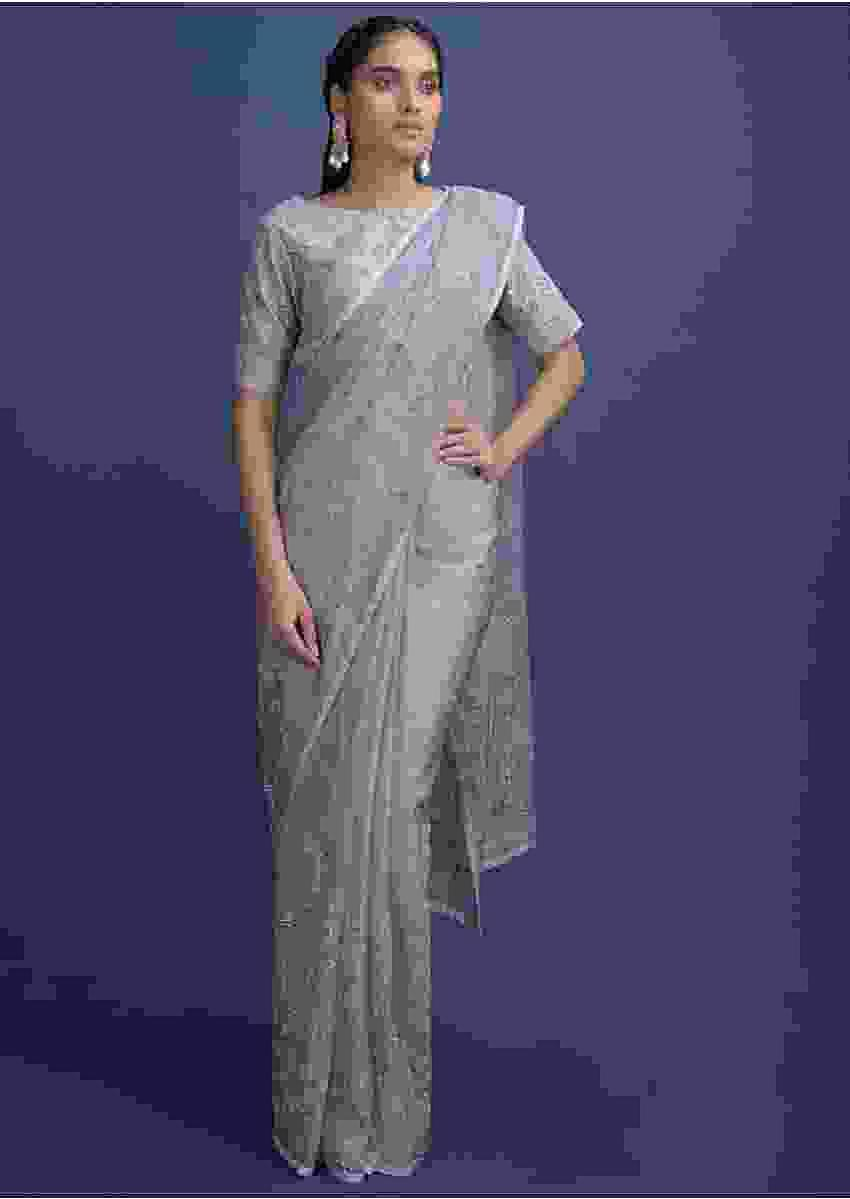 Koala Grey Saree In Organza With Kundan Work In Floral And Leaf Pattern Online - Kalki Fashion
