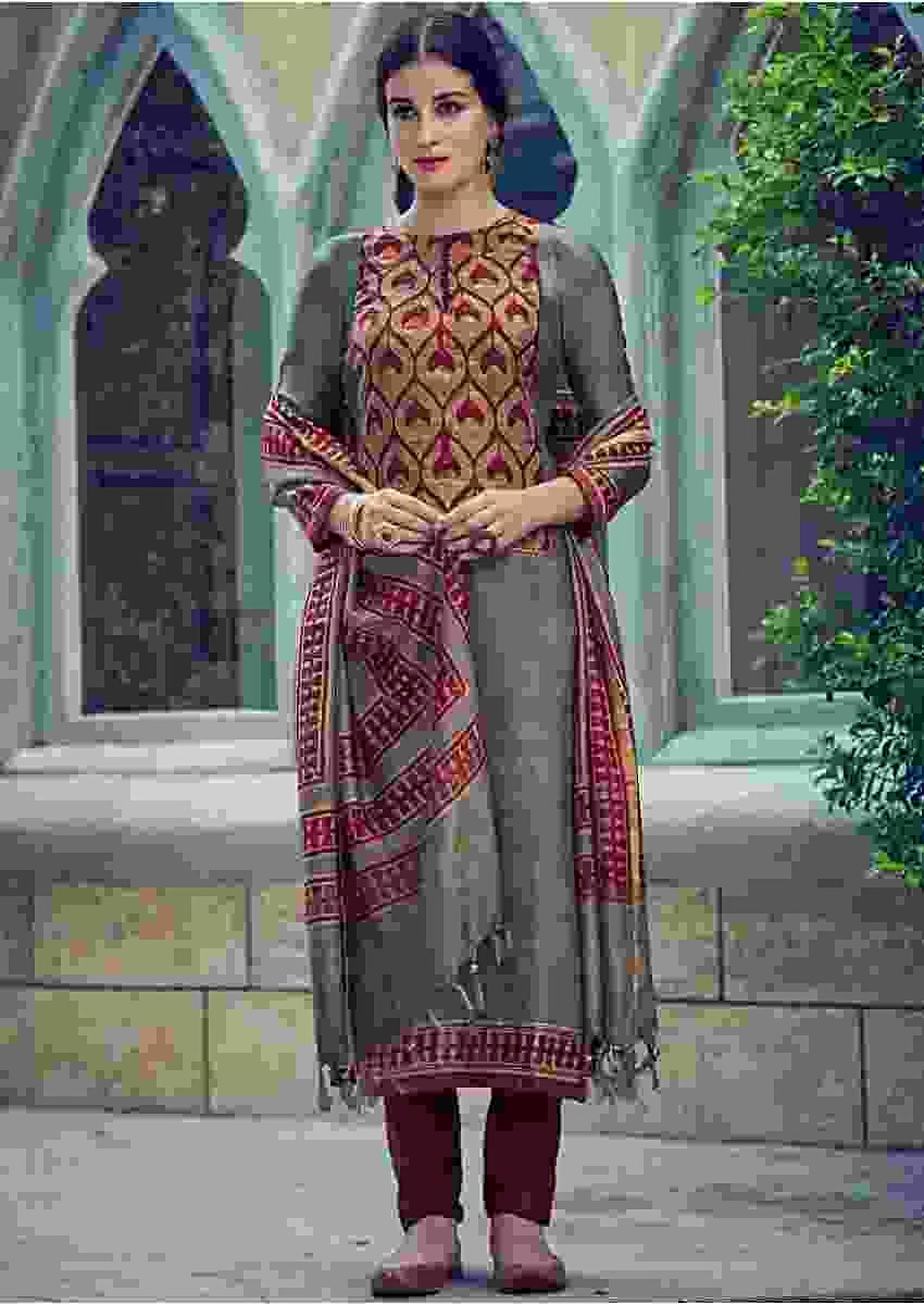 Koala Grey Suit In Tussar Silk With Burgundy Batik Printed Bodice Online - Kalki Fashions