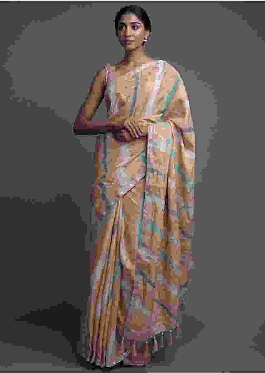 Latte Beige Saree In Tussar Silk With Lehariya Print And Gotta Work Online - Kalki Fashion