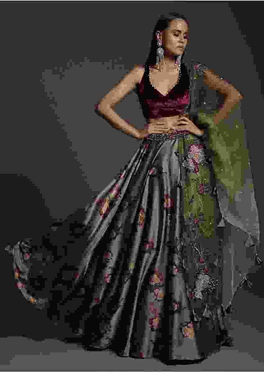 Laurel Green Floral Satin Skirt And Burgundy Velvet Crop Top With Moti Highlights And Embellished Belt Online - Kalki Fashion