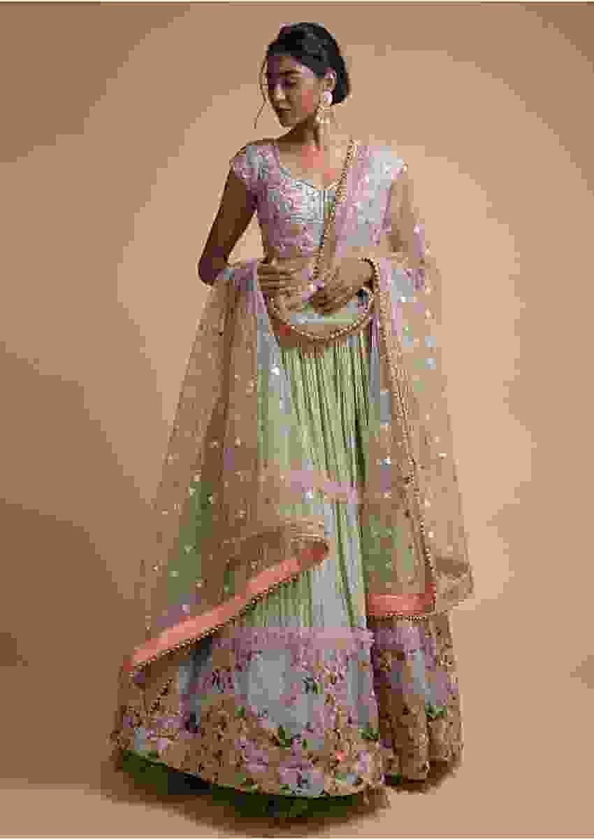 Laurel Green Tiered Lehenga With Resham Embroidered Hemline Online - Kalki Fashion