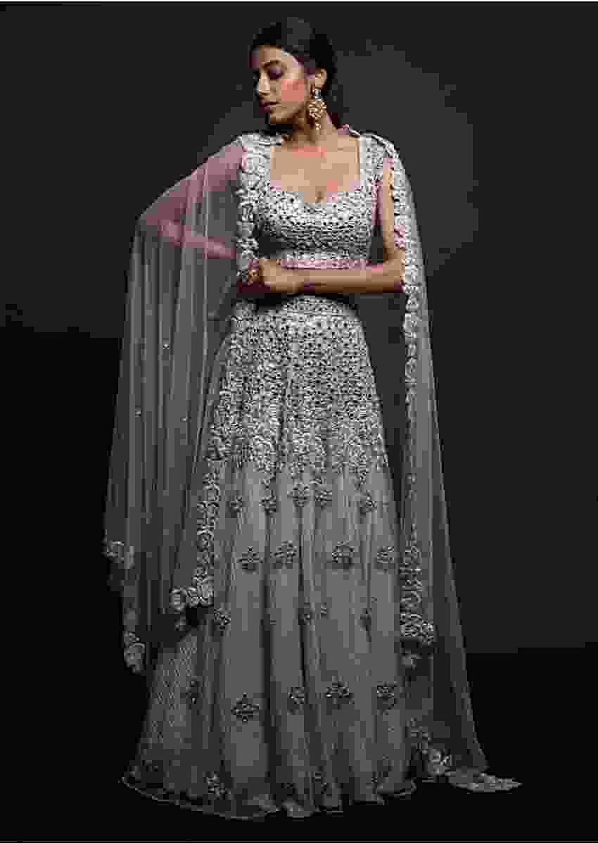 Lavender Lehenga In Net Beautified With Mirror Abla Work Online - Kalki Fashion