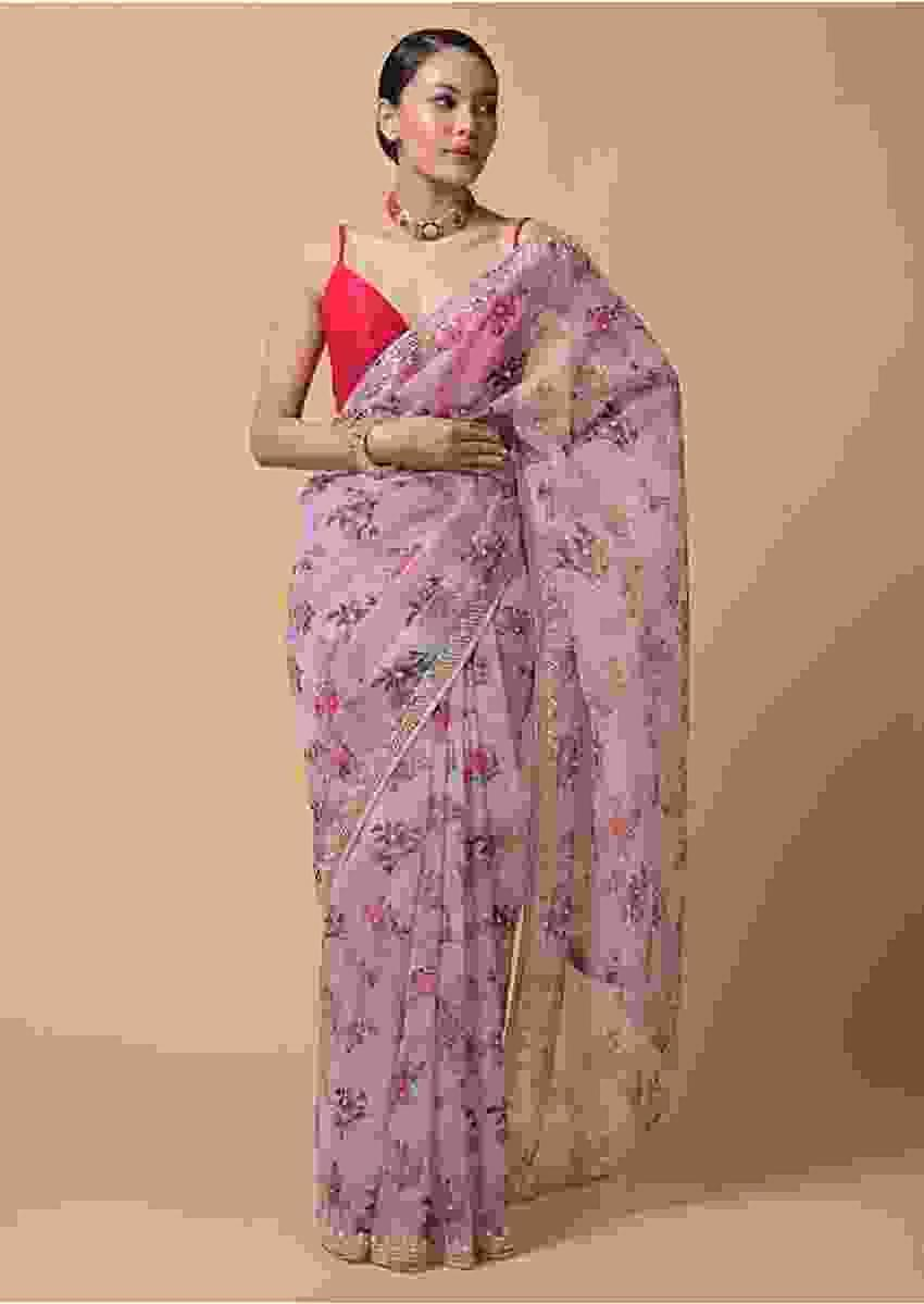 Lavender Pink Saree In Organza With Floral Print And Moti Accents Online - Kalki Fashion
