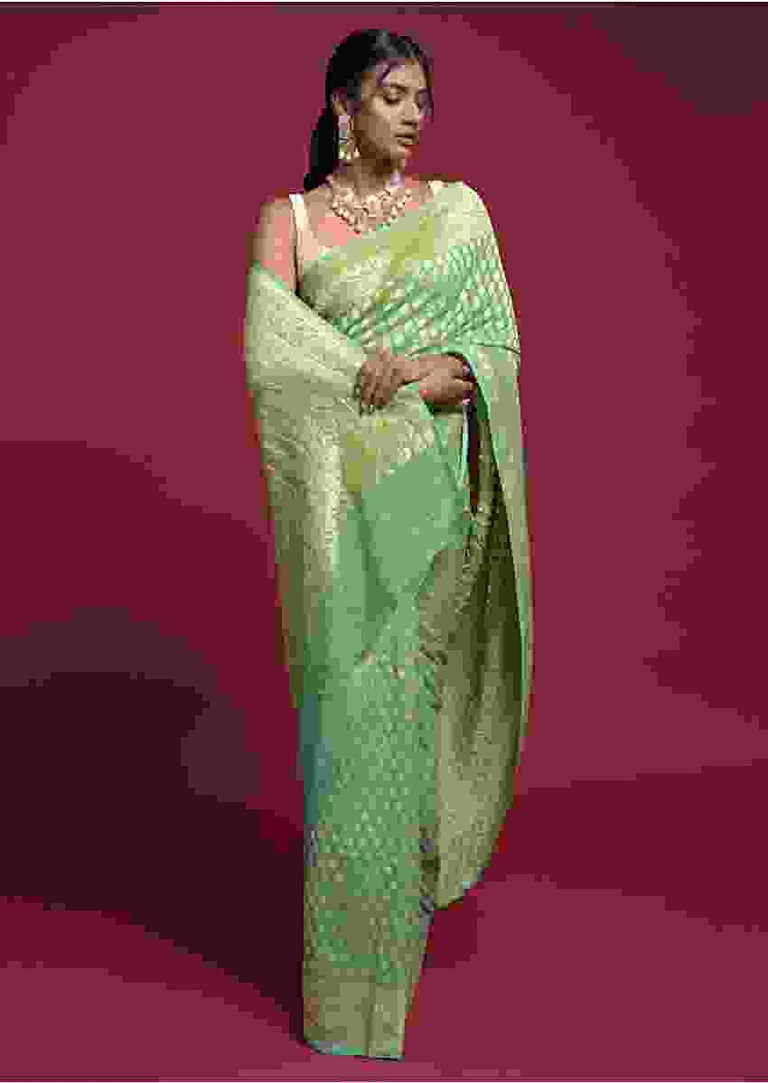 Leaf Green And Turq Shaded Saree In Georgette With Weaved Buttis Online - Kalki Fashion