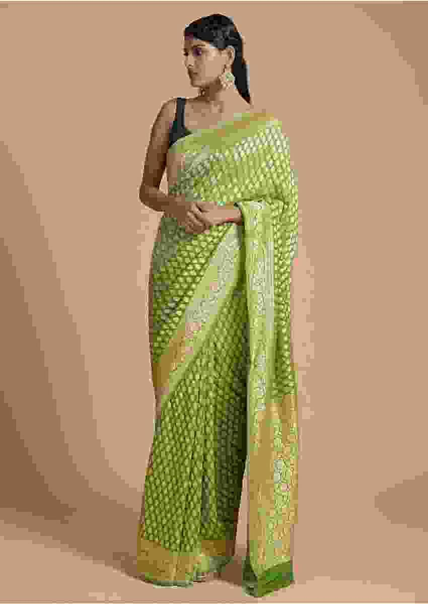 Leaf Green Saree In Georgette With Brocade Weaved Leaf Shaped Buttis Online - Kalki Fashion