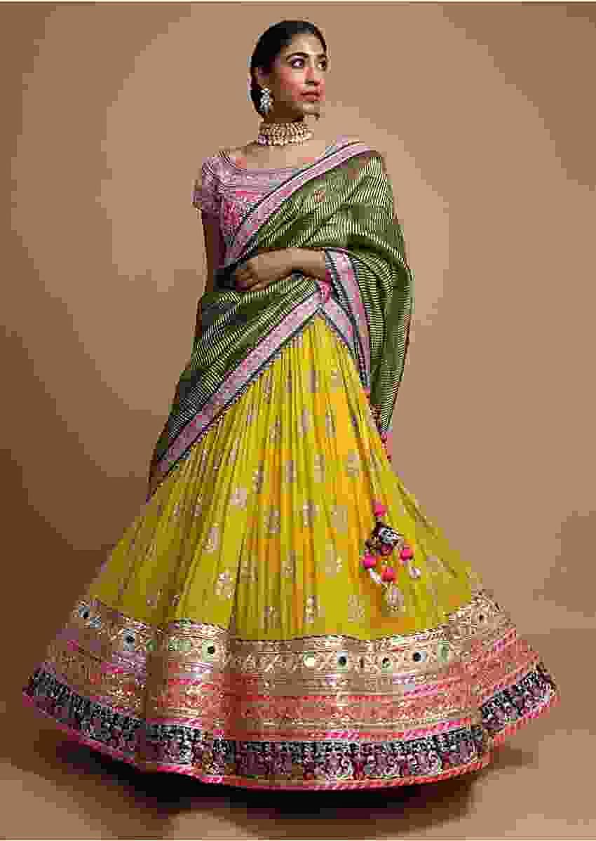 Lemon Yellow Lehenga Choli With Heavy Mirror And Gotta Work Border Online - Kalki Fashion