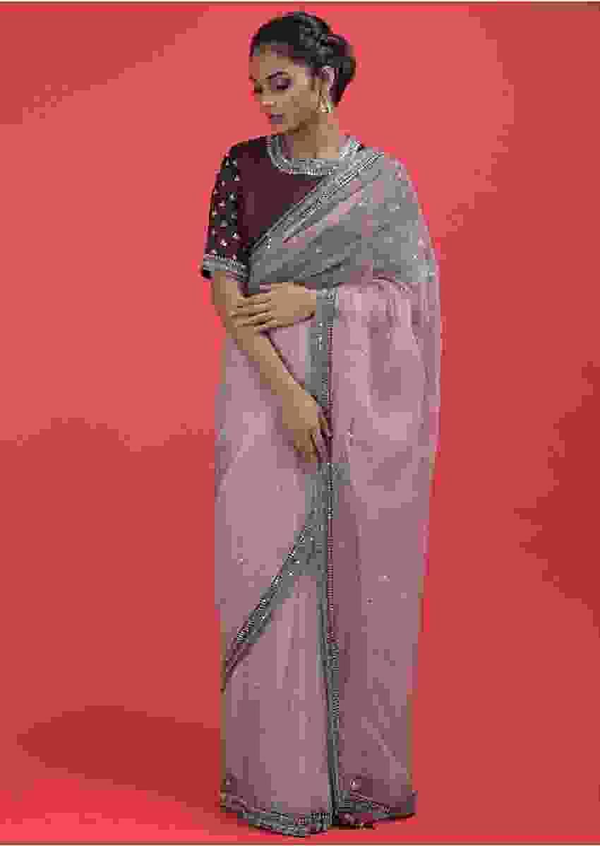 Lemonade Pink Saree In Organza With Mirror Work And A Maroon Silk Blouse Online - Kalki Fashion