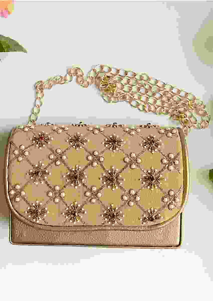 Light Gold Sling Bag With Zari, Swarovski And Moti Embroidery By Sole House