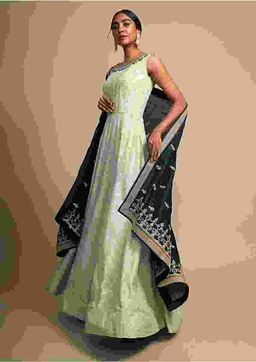 Light Green Anarkali Suit With Zardozi Embroidered Neckline And Teal Silk Dupatta Online - Kalki Fashion