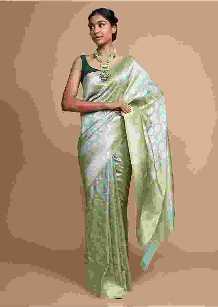 Light Green Banarasi Saree In Silk With Weaved Floral Buttis Online - Kalki Fashion