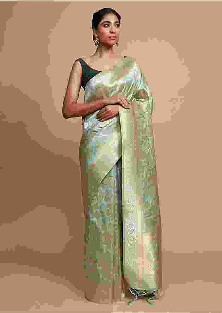Light Green Banarasi Saree In Silk With Weaved Floral Jaal Online - Kalki Fashion