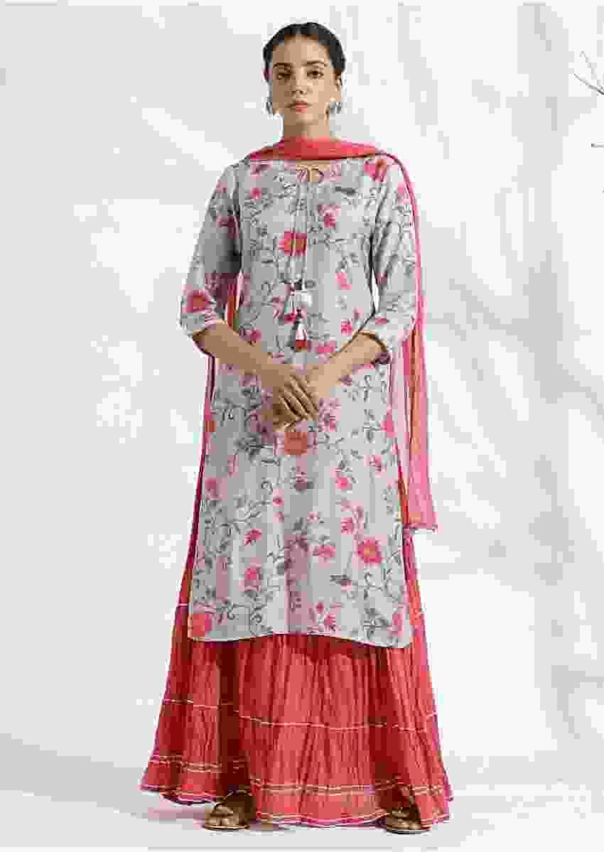Light grey Suit matched with skirt in butti print and gotta lace work Online - Kalki Fashion