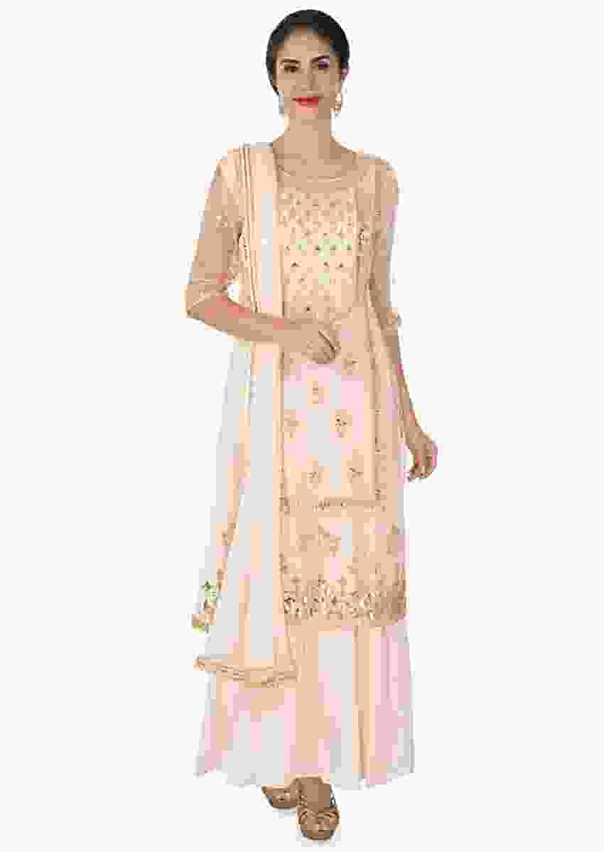 Light peach organza silk top layer in zardosi, resham and moti work