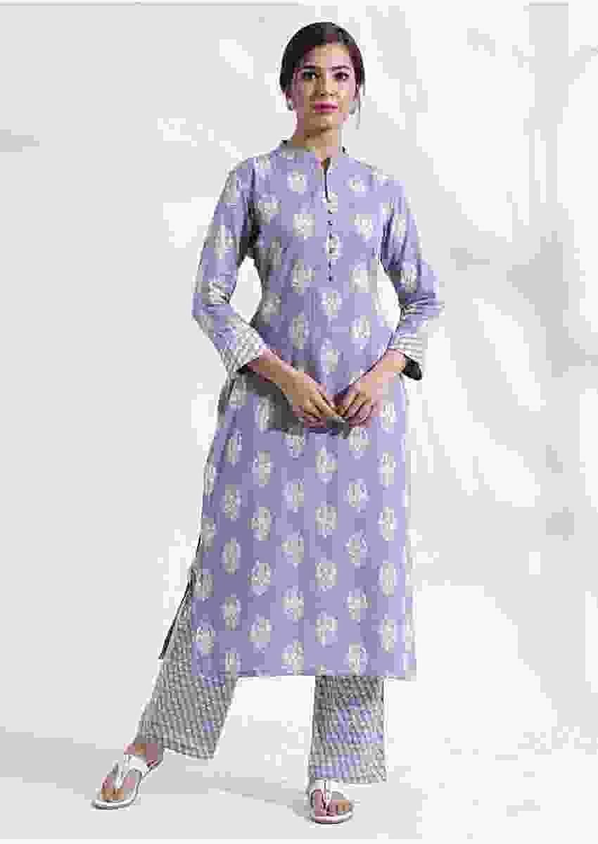 Light purple printed kurta set in cotton with bald work Online - Kalki Fashion