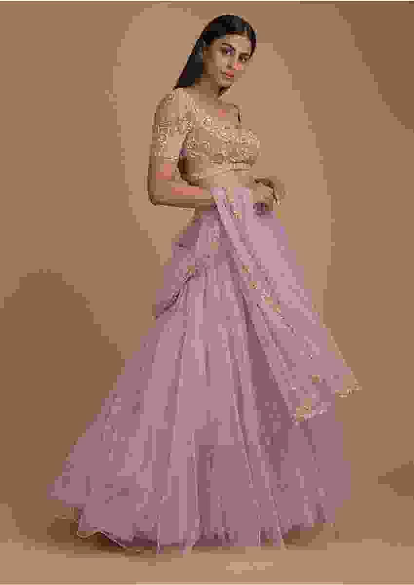 Lilac Lehenga In Net With Floral Buttis And Crop Top With Jaal Embroidery Online - Kalki Fashion