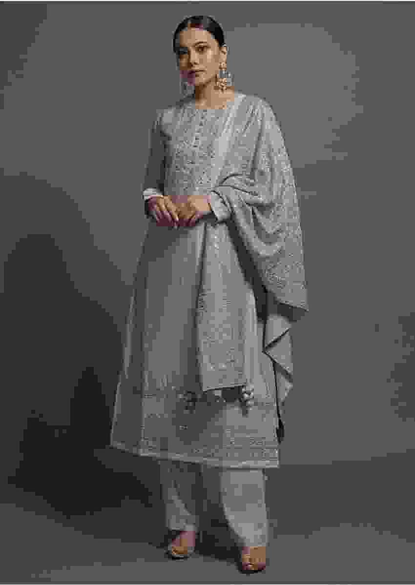 Lilac Silk Straight Suit Set Embellished With Resham, Cord And Gotta Work Online Kalki Fashion