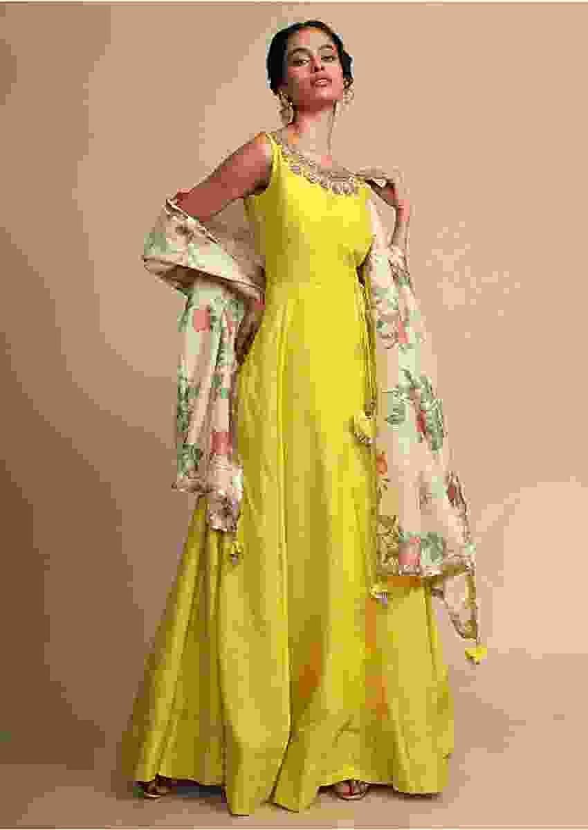 Lime Green Anarkali Suit With Zardozi Embroidered Neckline And A Floral Printed Dupatta Online - Kalki Fashion