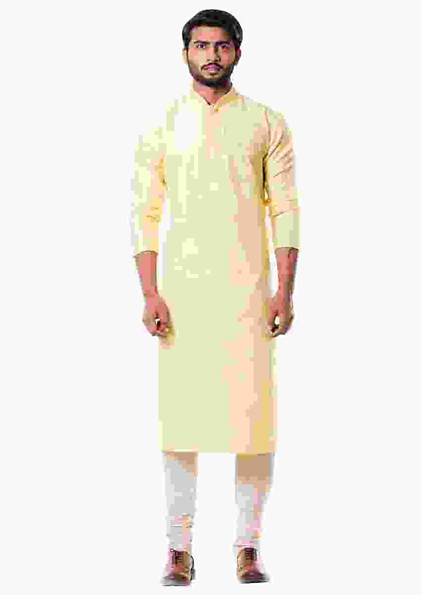 Lime Yellow Kurta Set Online - Kalki Fashion