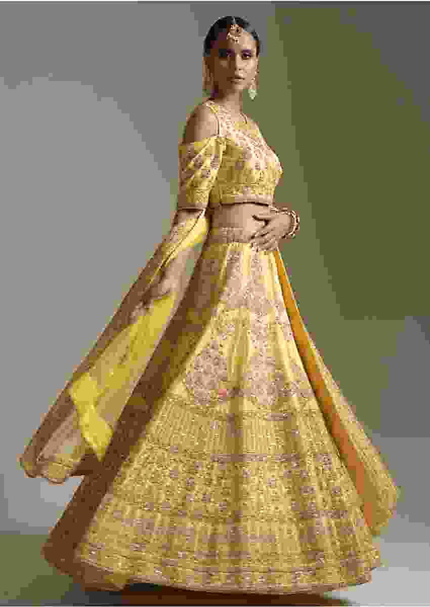 Lime Yellow Lehenga And Cold Shoulder Choli In Raw Silk With Zardosi And Resham Embroidered Floral Kalis Online - Kalki Fashion