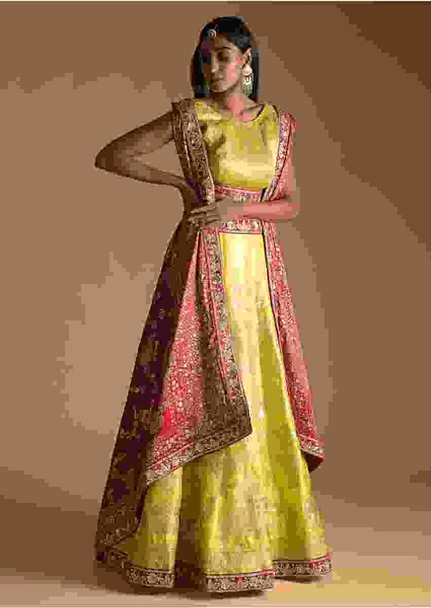 Lime Yellow Lehenga Choli In Silk With Woven Nature Inspired Motifs And Fuchsia Banarasi Dupatta Online - Kalki Fashion