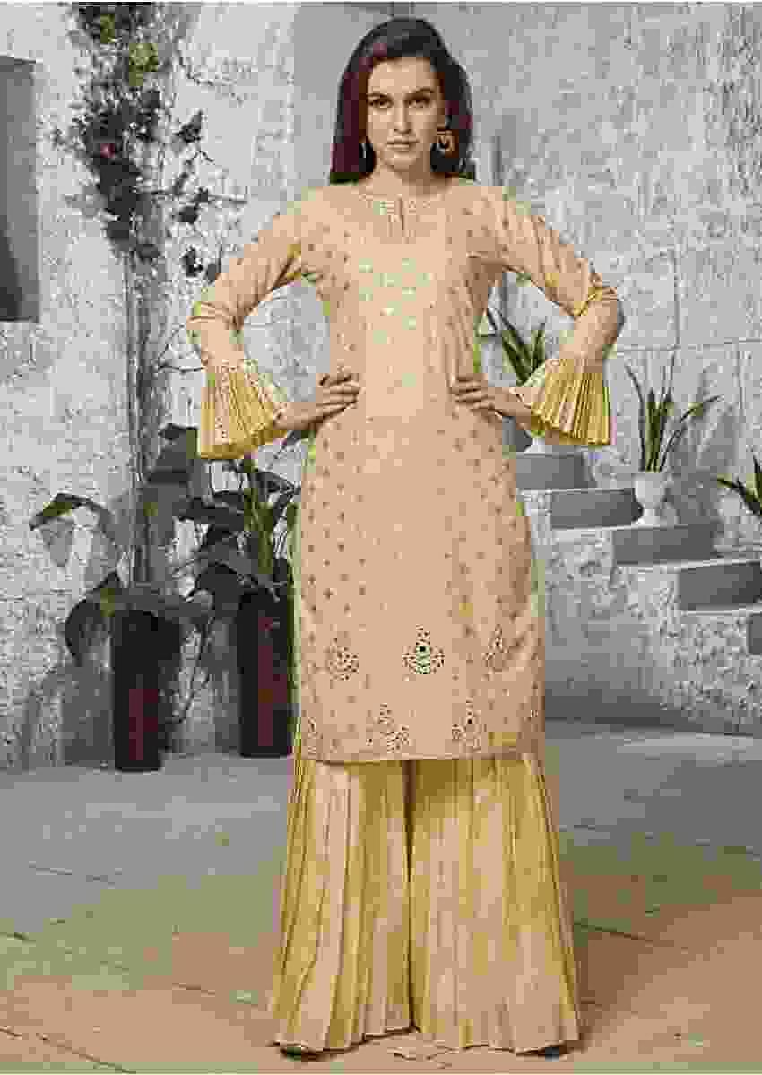 Lime Yellow Straight Sharara Suit In Cotton With Mirror And Resham Embroidered Neckline Online - Kalki Fashion