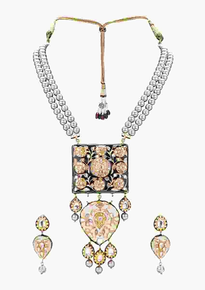Luxe Earring And Necklace Set With Enamelling, Grey Pearls And Kundan     Online - Joules By Radhika
