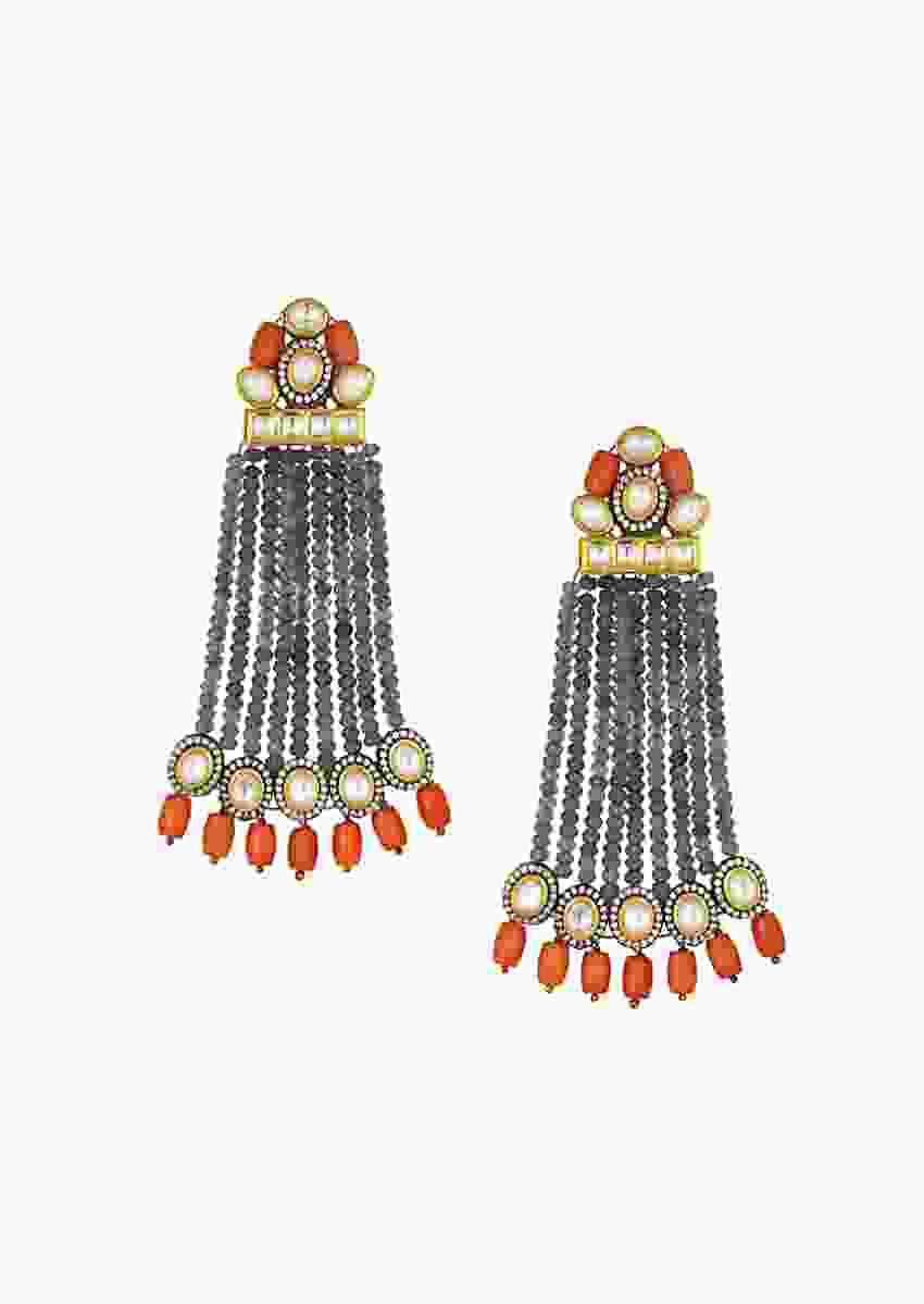 Luxe Kundan Polki Earrings With Corals And Agate Bead Strings Online - Joules By Radhika