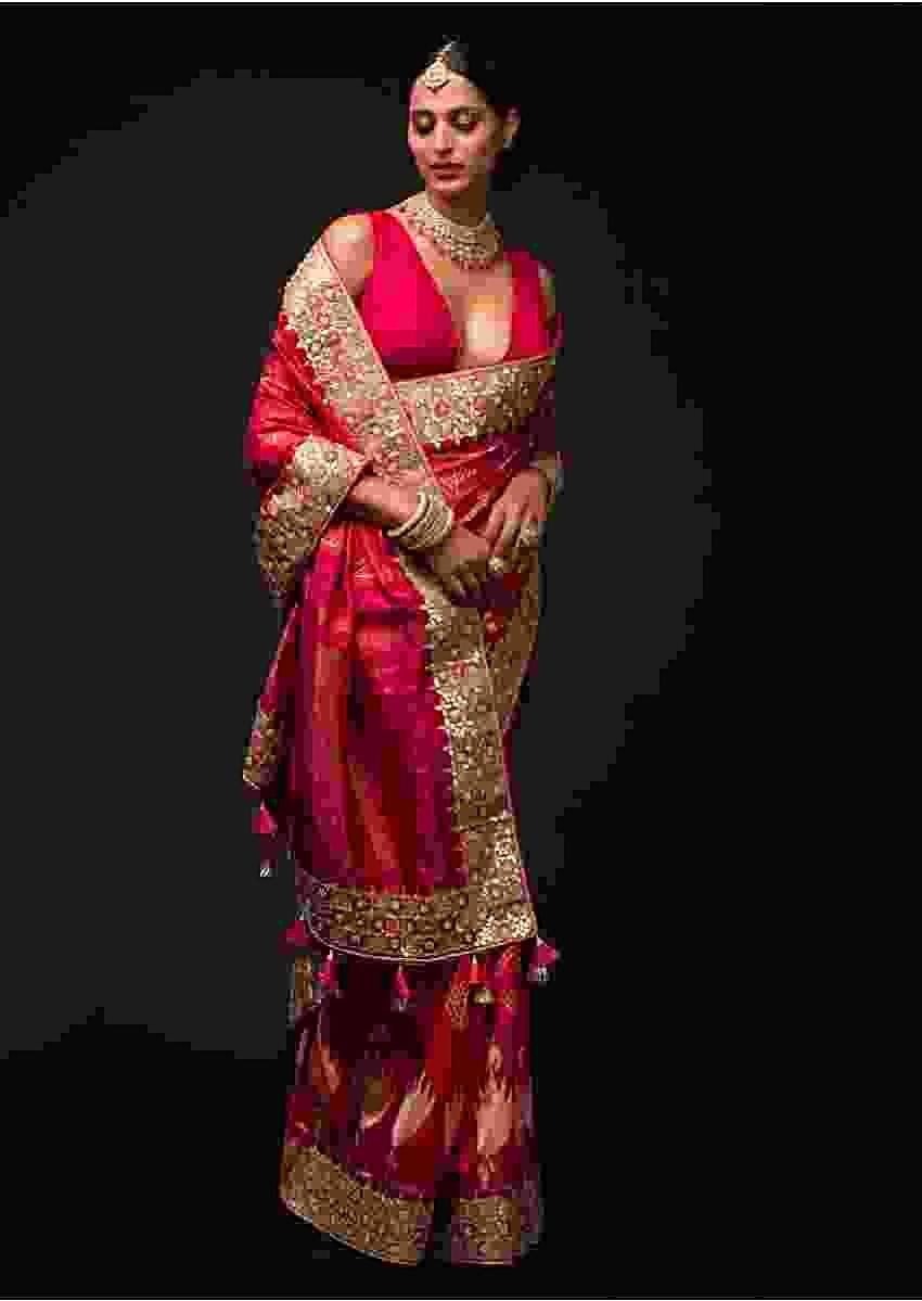 Magenta And Orange Two Toned Saree In Silk With Ikkat Weaved Buttis And Embroidery Work Online - Kalki Fashion