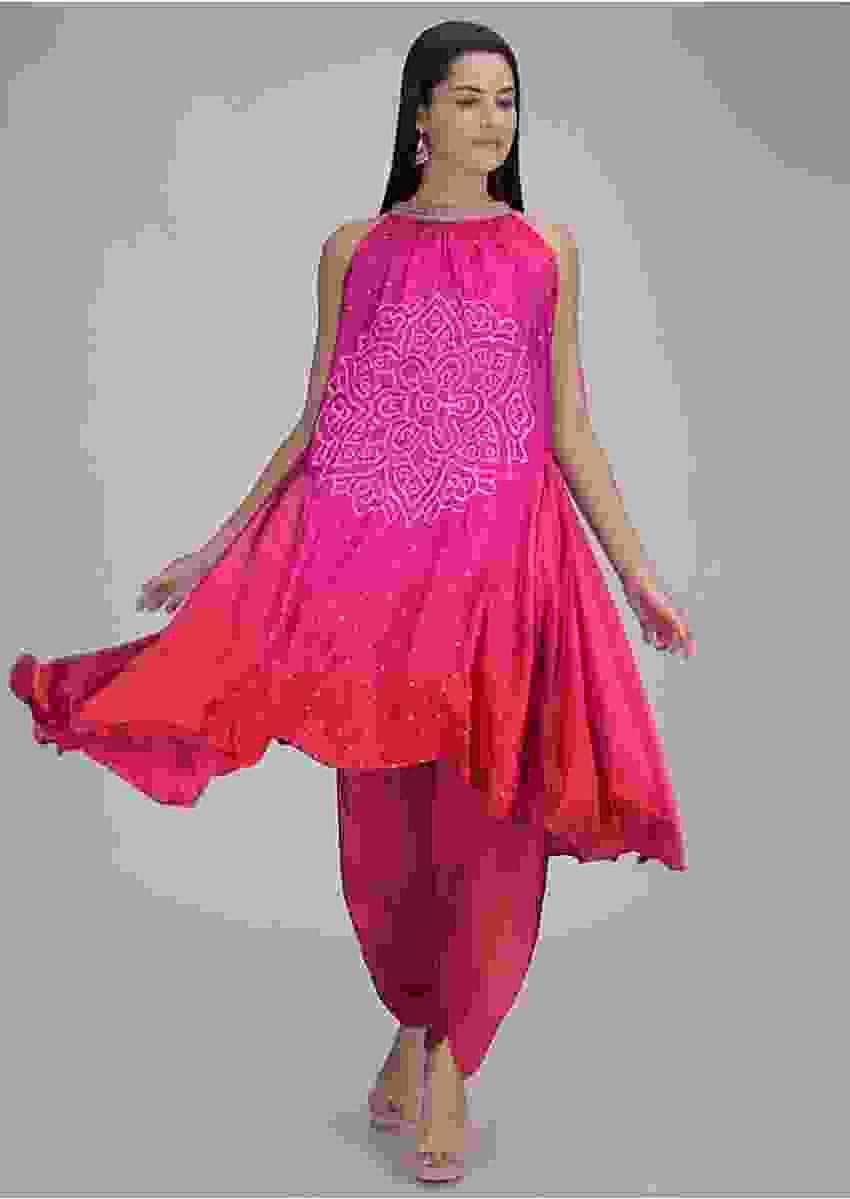 Magenta And Red Kurti And Dhoti Set In Satin Crepe Online - Kalki Fashion