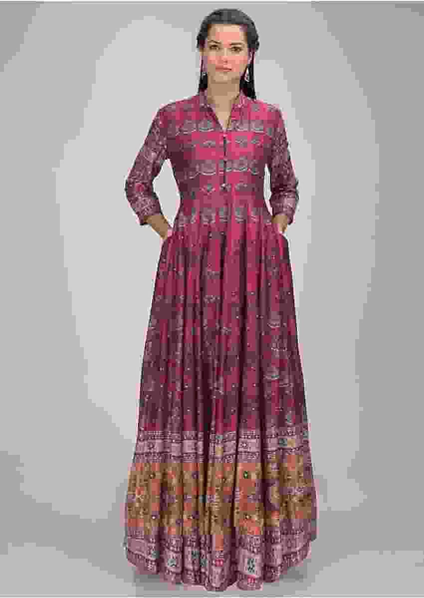 Magenta Anarkali Dress In Cotton With Patola Print Online - Kalki Fashion