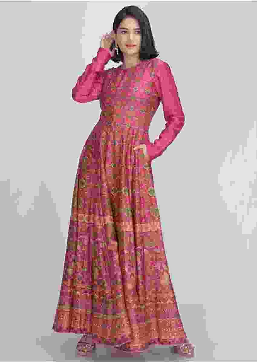 Magenta Anarkali Dress In Cotton Silk With Patola Print Online - Kalki Fashion