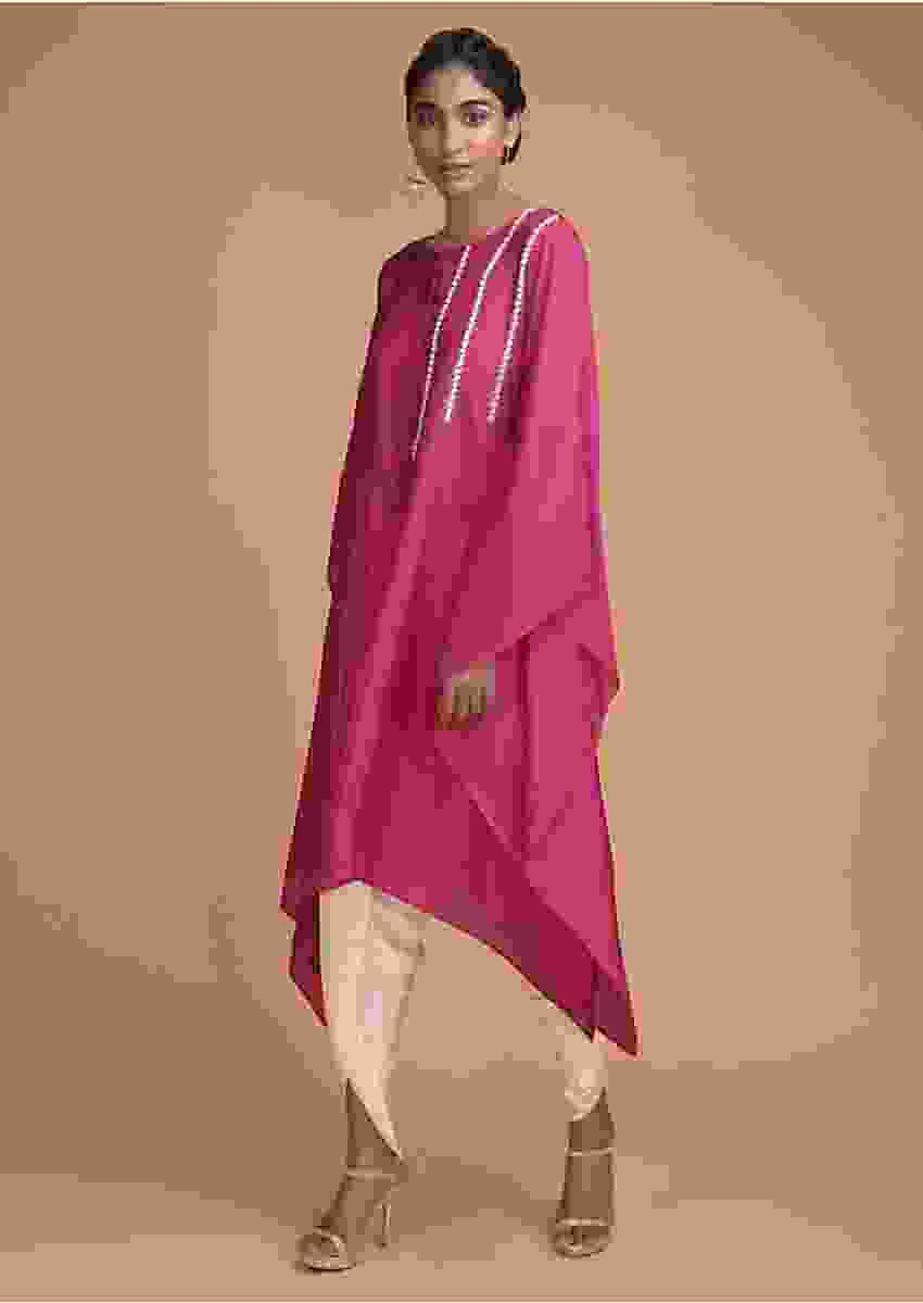 Magenta Kaftan Dhoti Suit Embellished In Stripe Pattern On The Bodice Online - Kalki Fashion