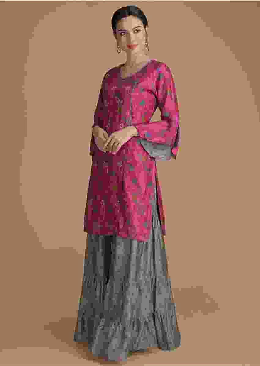 Magenta Kurti In Angrakha Style With Sage Green Sharara Bottoms Online - Kalki Fashion